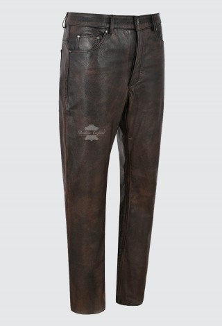 Mens Real Black Cow Leather Jeans Biker Jeans Pants Trousers