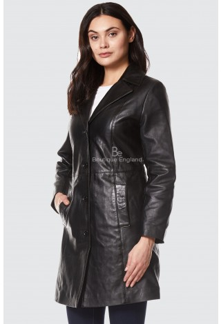TRENCH Ladies Real Leather Jacket Black Classic Knee-Length Designer Coat 3457