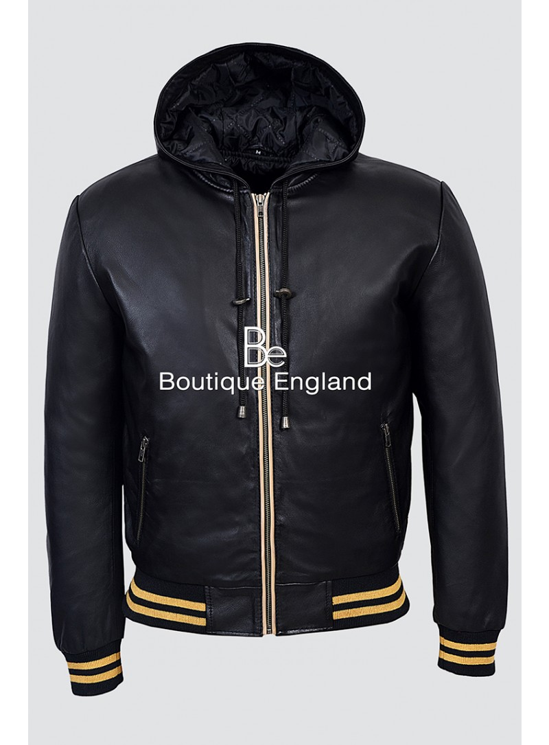 BASEBALL 4486 BLACK Men's Hoody Slim Fit Stylish HipHop Italian Real Lambskin Leather Jacket
