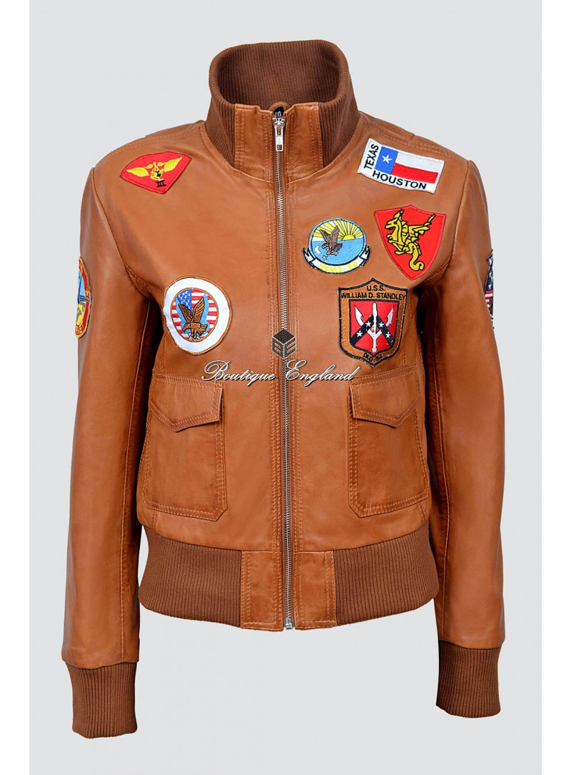 Ladies TOP GUN TAN Jet Fighter Bomber Navy Air Force Leather Jacket