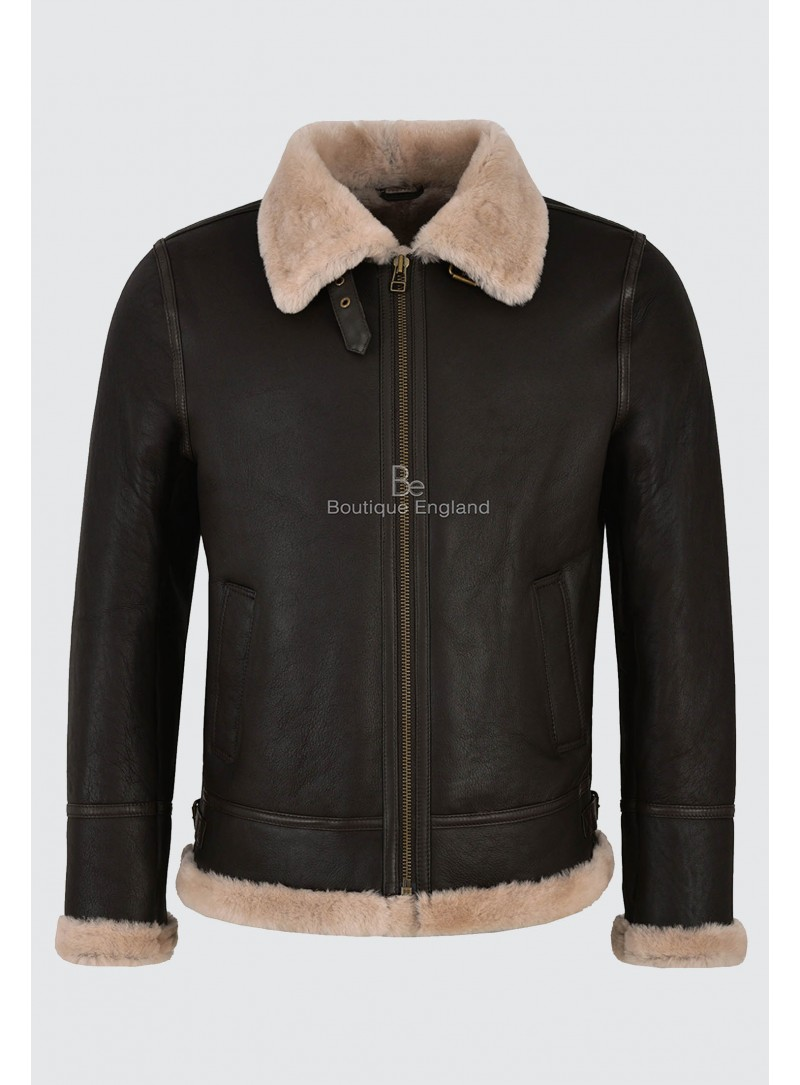 Men's B3 Brown Beige Fur Shearling Sheepskin Leather Jacket Bomber RAF NV-65
