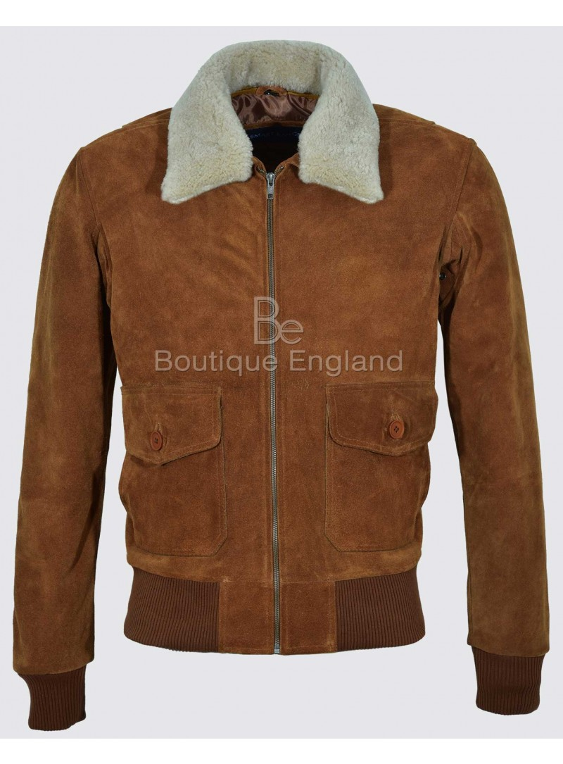 TOP GUN Men's Tan Suede Beige Fur Fighter Bomber Air Force Real Leather Jacket