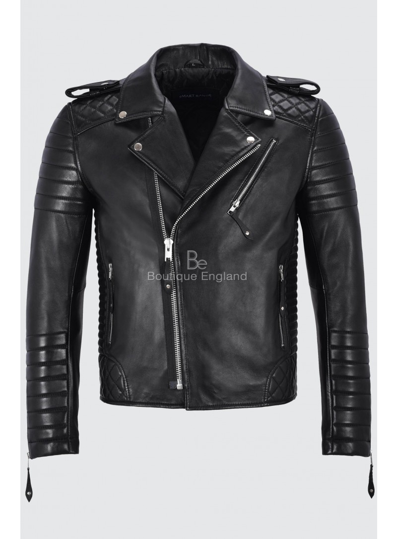 Brando Men's Black Leather Jacket CLASSIC Quilted Soft Slim Fit Biker Style 2250