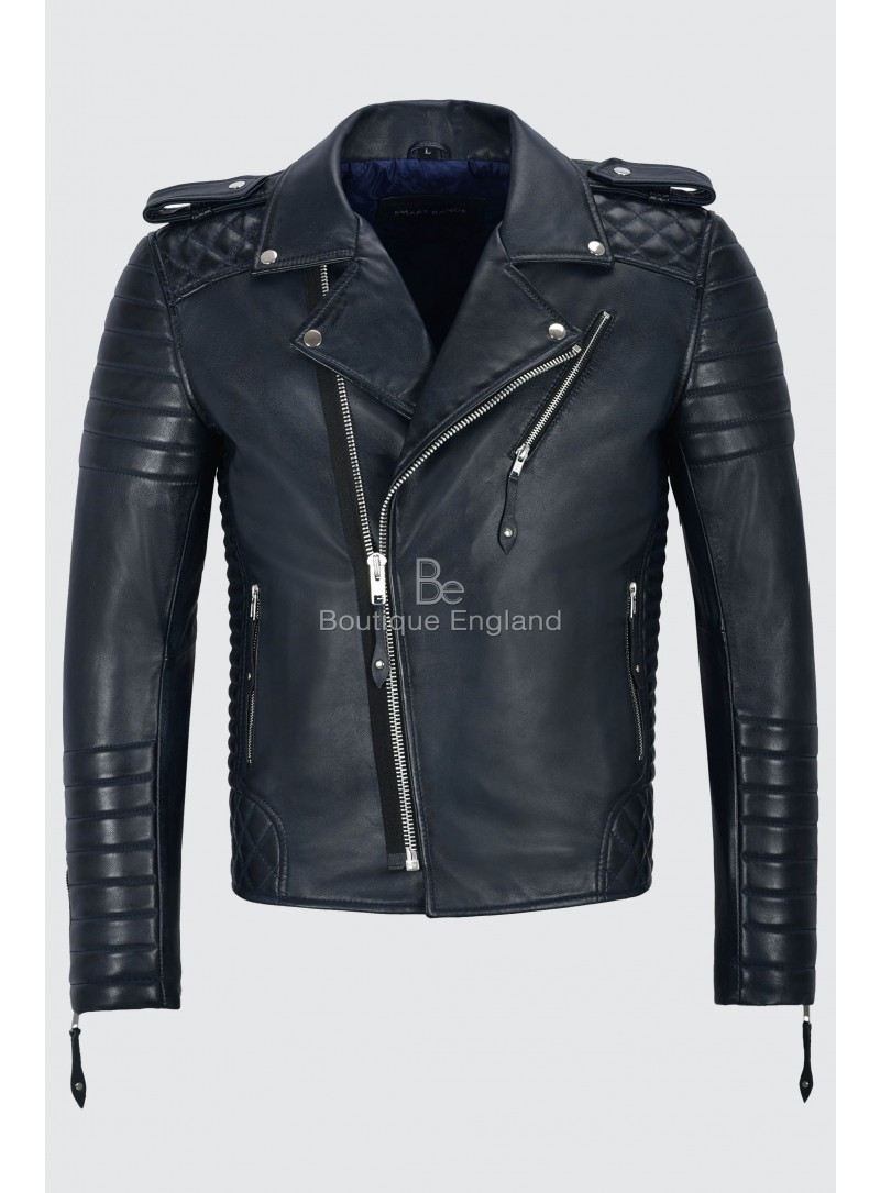 Brando Men's Real Navy Leather Jacket Soft Quilted Slim Fit Biker Style 2250